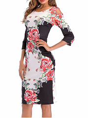 Round Neck  Floral  Blend Bodycon Dress