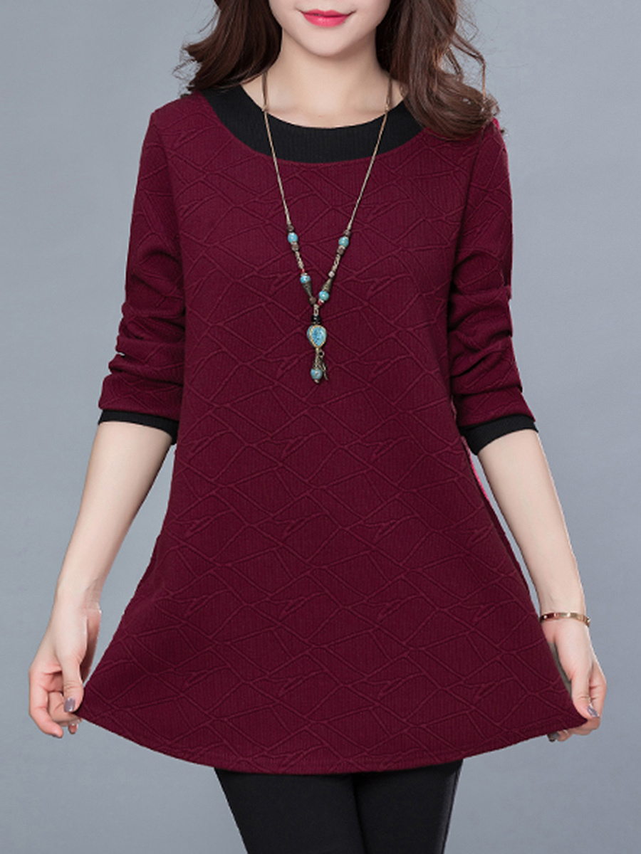Round Neck Pocket Color Block Blouse