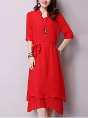 V-Neck-Asymmetric-Hem-Plain-Double-Layer-Maxi-Dress