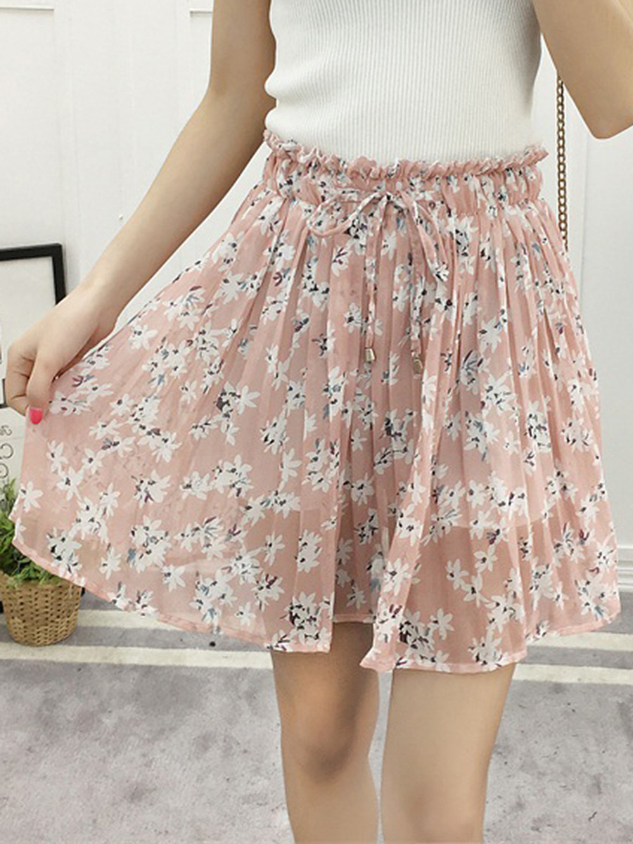Drawstring Elastic Waist Printed Flared Mini Skirt