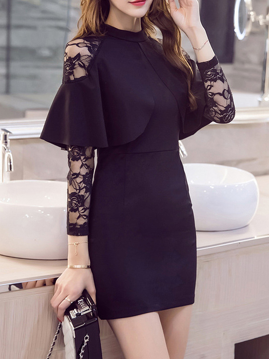 Band Collar Flounce See-Through Plain Mini Bodycon Dress