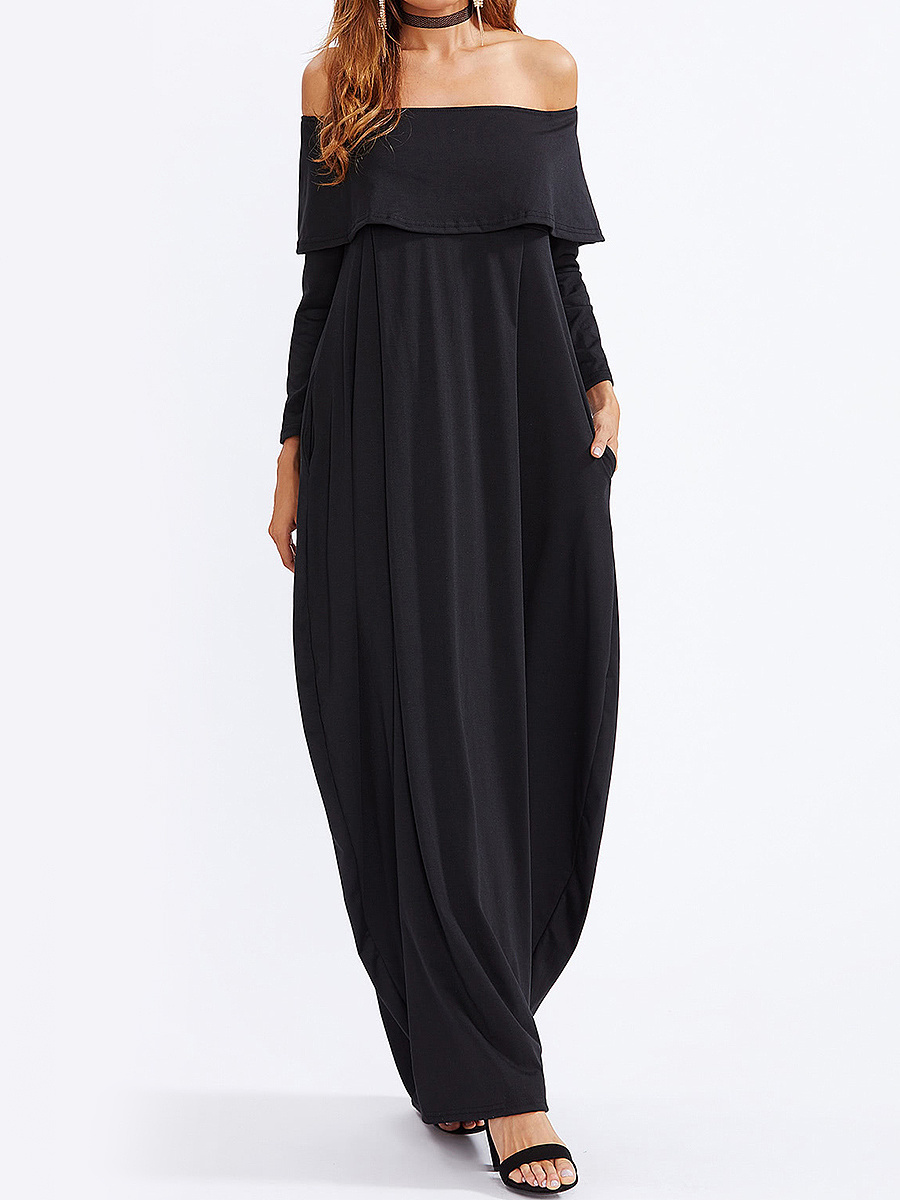Off Shoulder Flounce Plain Maxi Dress