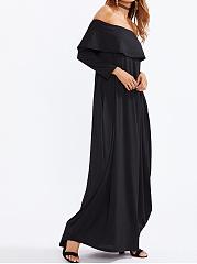 ... Off Shoulder Flounce Plain Maxi Dress ...