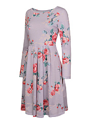 Ruched  Floral Skater Dress