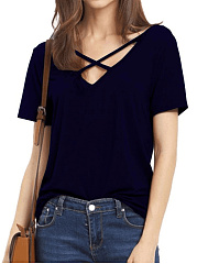 V Neck  Backless  Plain Short Sleeve T-Shirts