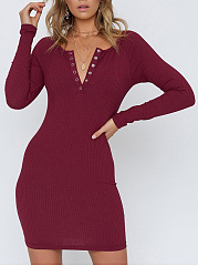 Hooded  Plain  A Tether  Weiyikuan Bodycon Dresses