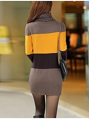 High Neck  Color Block Hollow Out  Cotton Bodycon Dresses