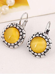 Yellow Glass Earrings For Women