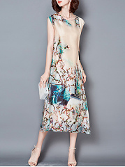 Round-Neck-Bowknot-Printed-Sleeveless-Maxi-Dress