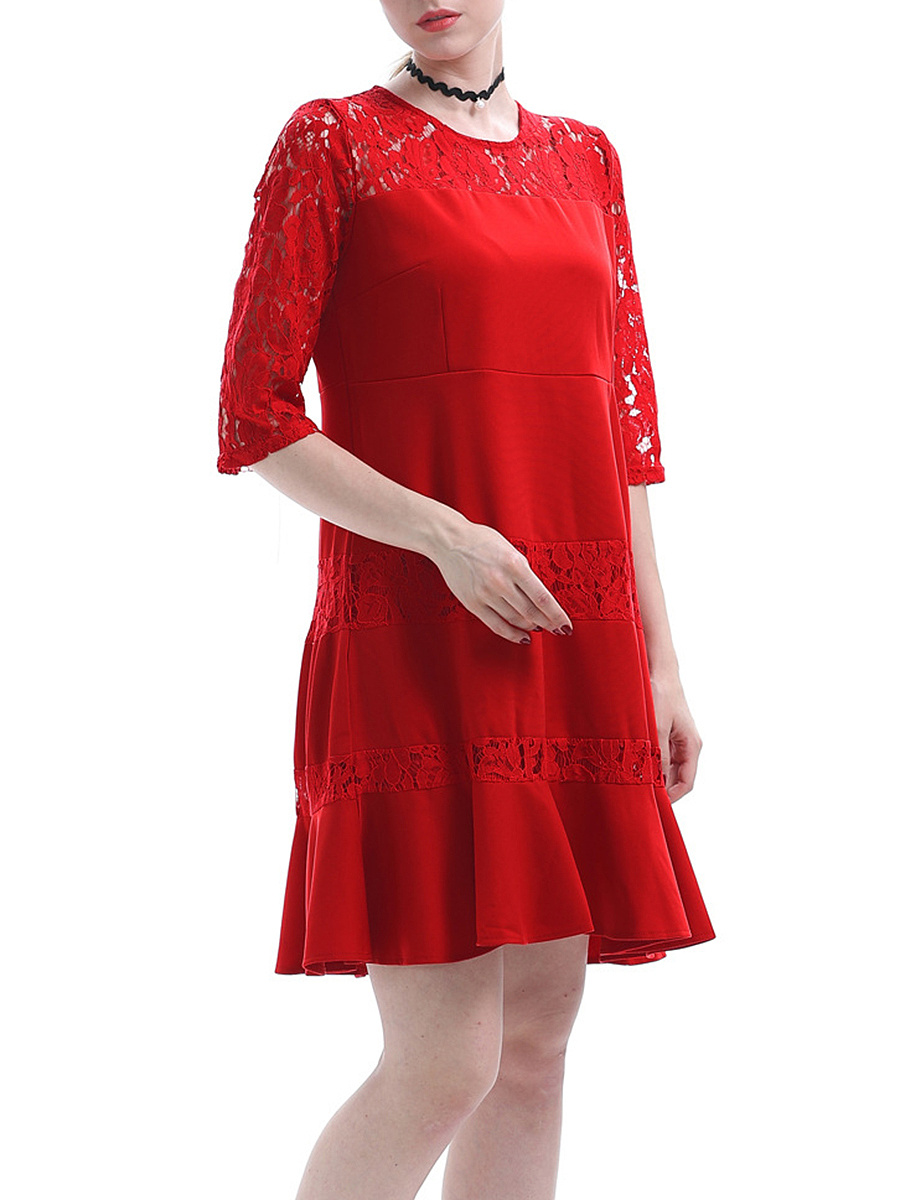 Lace Hollow Out Solid Shift Dress In Red