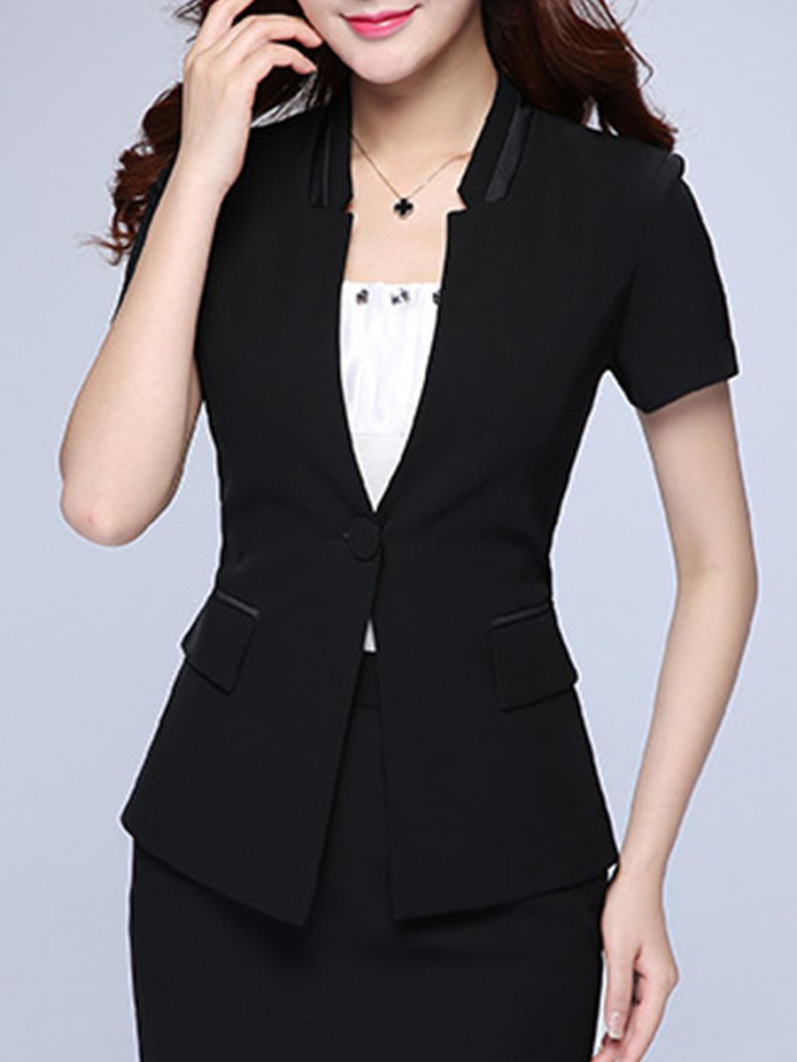 color block basic autumn spring summer elegant Collarless  Single Button  Color Block  Long Sleeve Blazers