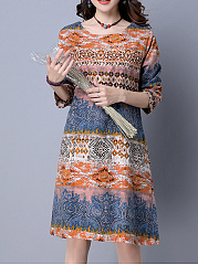 Split-Neck-Patch-Pocket-Printed-Shift-Dress