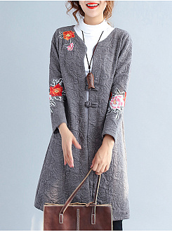 Collarless  Slit Pocket  Embroidery  Long Sleeve Trench Coat