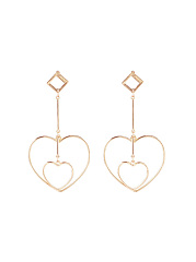 Gold Hollow Out Heart Shape Earrings