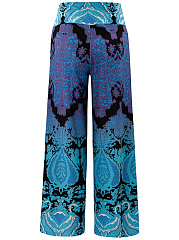 Printed Wide-Leg High-Rise Casual Pants
