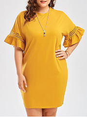 Crew Neck  Crochet  Plain Plus Size Bodycon Dresses
