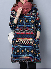 Round-Neck-Tribal-Printed-Striped-Patch-Pocket-Shift-Dress