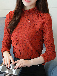 High Neck  Lace Blouses