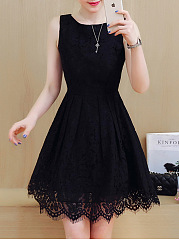 Round Neck Lace Plain Skater Dress