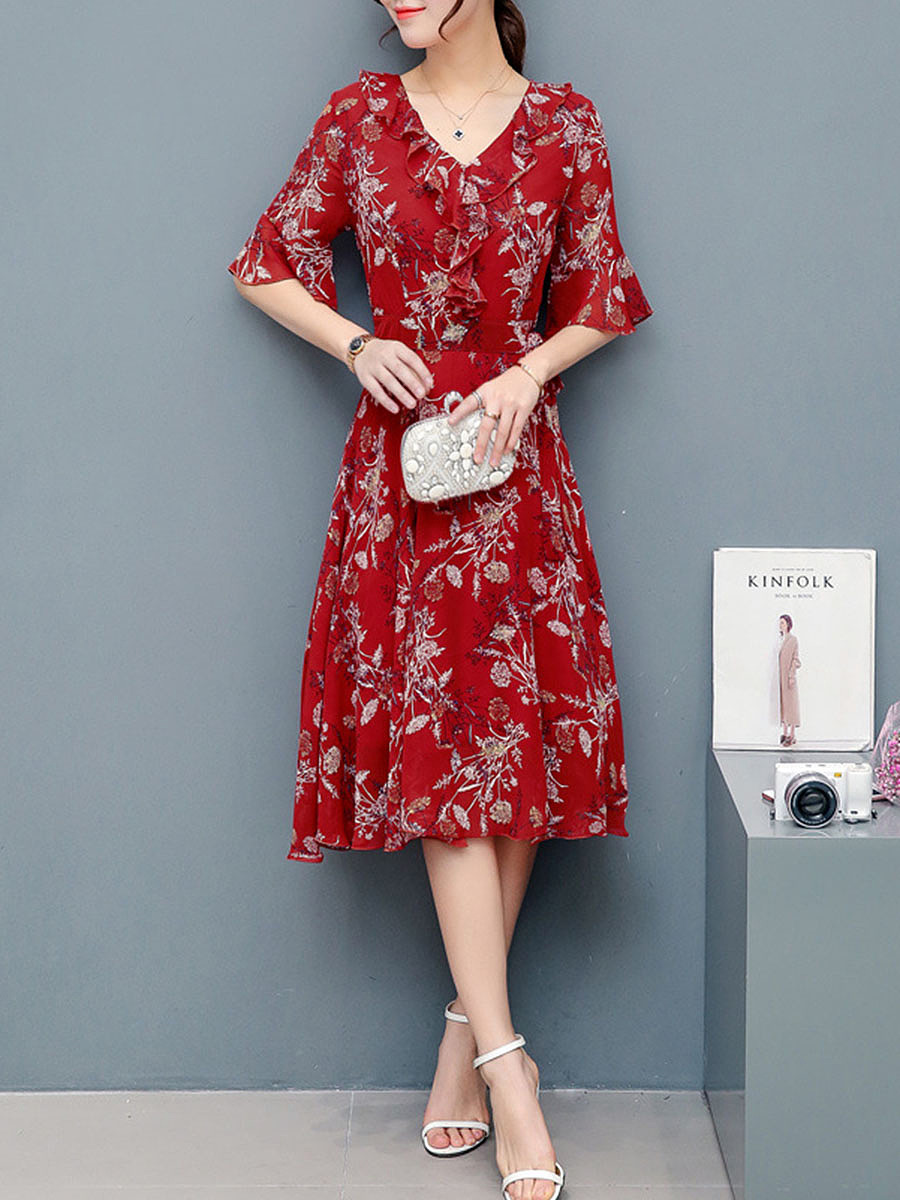 V-Neck Bell Sleeve Flounce Printed Chiffon Maxi Dress
