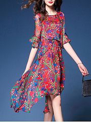 Round Neck  Asymmetric Hem  Printed Maxi Dress