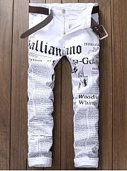 Letters  Slim-Leg  Mid-Rise Mens Jeans