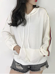 Autumn Spring  Cotton Blend  Plain Striped  Raglan Sleeve  Long Sleeve Hoodies
