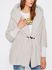 Hooded  Single Button  Plain Coat