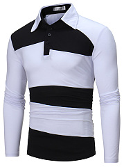 Polo Collar  Color Block  Long Sleeve Polos