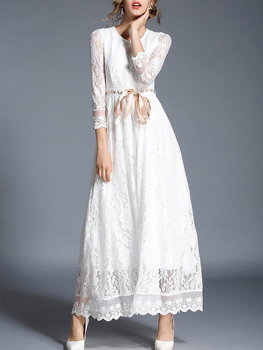 Round Neck  Bowknot Drawstring  Plain  Lace Maxi Dress