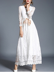 Round Neck  Bowknot Drawstring  Plain  Lace Maxi Dress