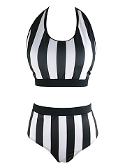 Halter-Black-White-Vertical-Striped-Bikini