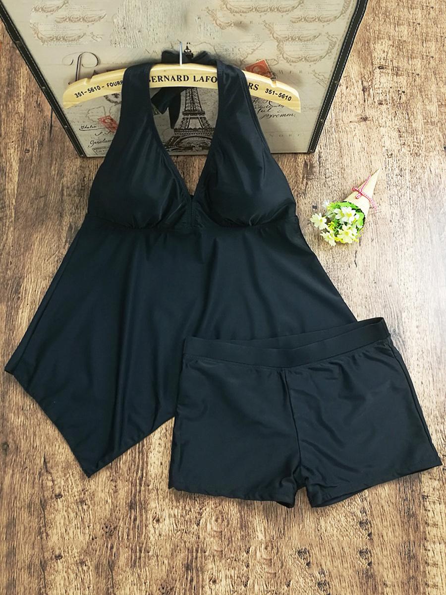 Tie Collar  Plain Striped Plus Size Swimwear
