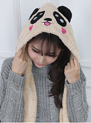 Winter Thicken Scarf  Cute Panda Wrap Hat Gloves Set One Piece Wollen Ourdoors Long Hooded Scarfs Gloves