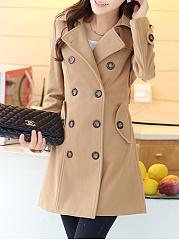 Lapel-Double-Breasted-Flap-Pocket-Belt-Plain-Woolen-Coat