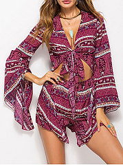 Deep V-Neck  Bohemian Printed Jumpsuits