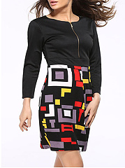 Color Block Geometric Round Neck Plus Size Bodycon Dress