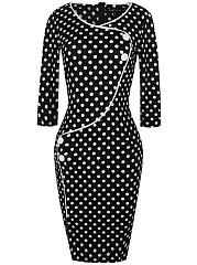 Surplice-Polka-Dot-Blend-Bodycon-Dress