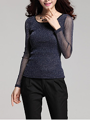 See-Through Plain Long Sleeve T-Shirt