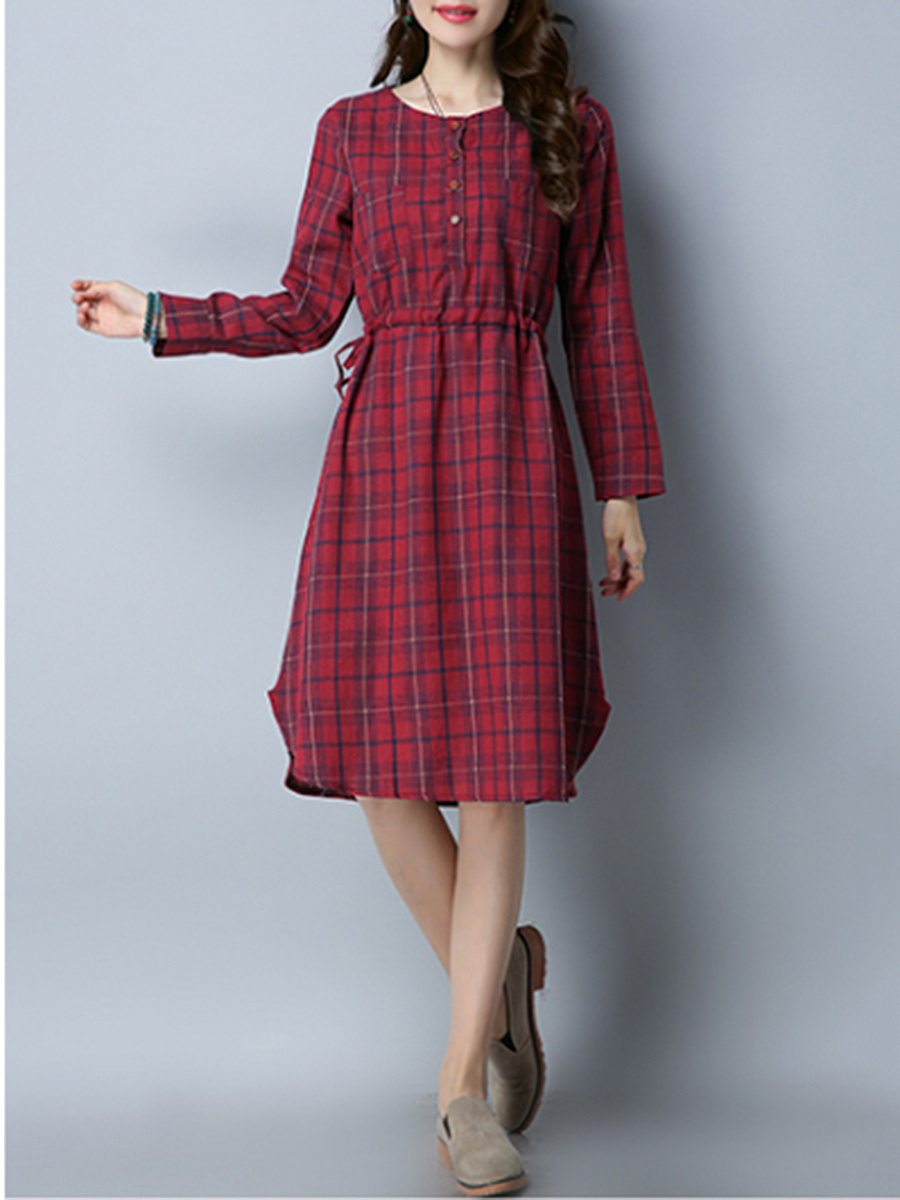Plaid Drawstring Curved Hem Midi Skater Dress