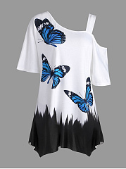 Butterfly Printed Plus Size T-Shirts