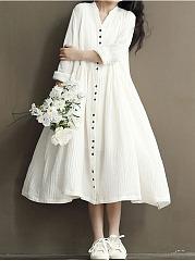 Oversized-Split-Neck-Plain-Button-Through-Maxi-Dress