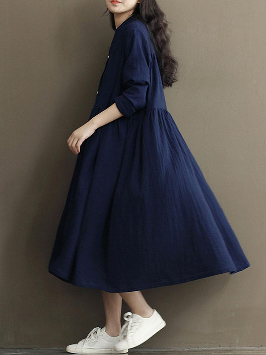 Oversized Split Neck Plain Button Through Maxi Dress