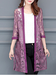 Floral Lace  Three-Quarter Sleeve Cardigans