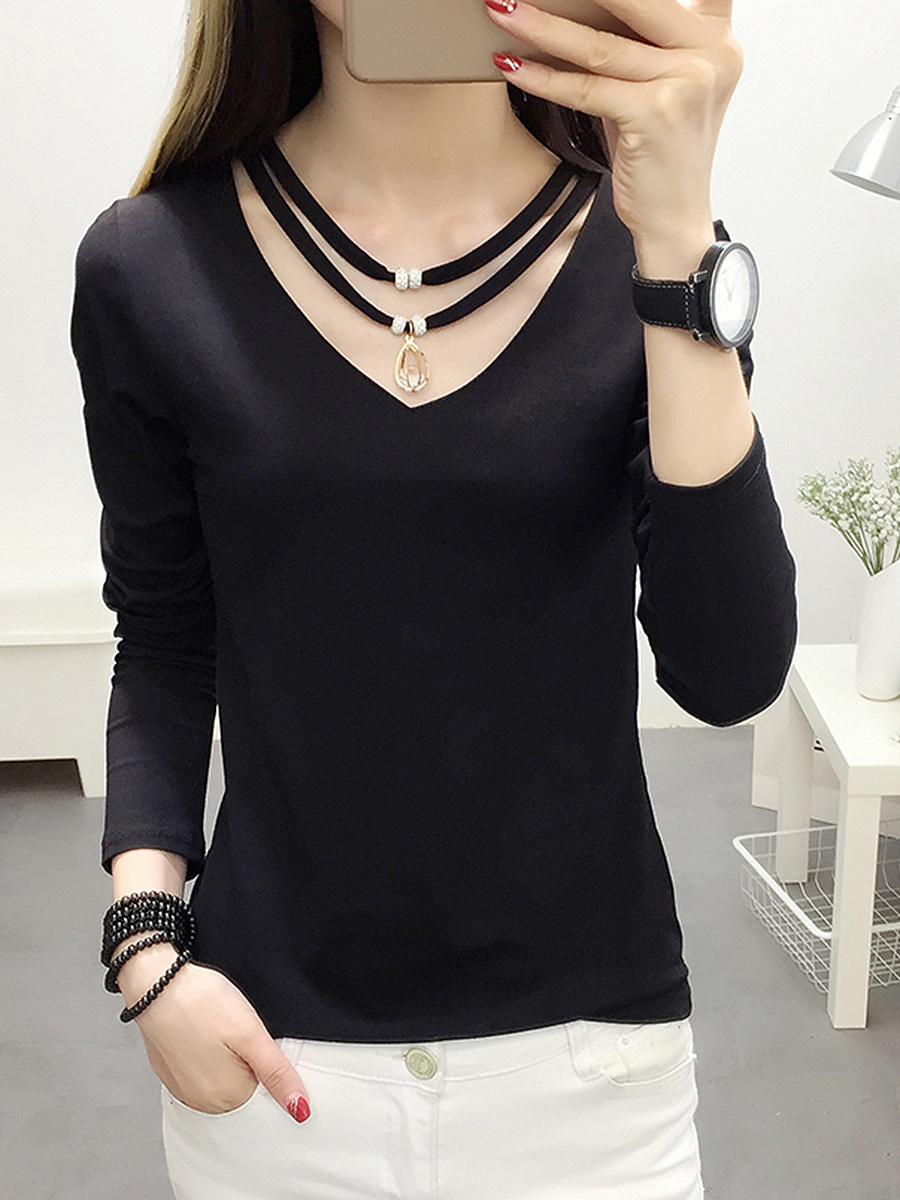 Plain V-Neck Hollow Out Long Sleeve T-Shirt