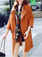 Fold-Over Collar  Flap Pocket  Plain  Half Sleeve Trench Coats