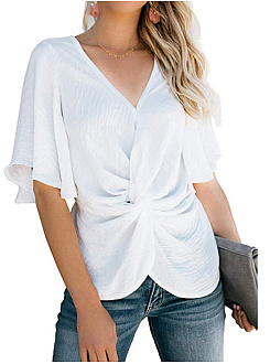 Spring Summer  Polyester  V-Neck  Plain  Bell Sleeve  Short Sleeve Blouse