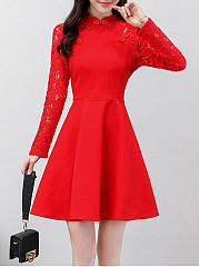 Band Collar Patchwork Hollow Out Plain Skater Dress