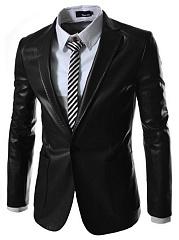 Men-Plain-PU-Leather-Notch-Lapel-Single-Button-Blazer