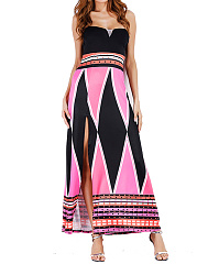 Off Shoulder  Slit  Printed Maxi Dress